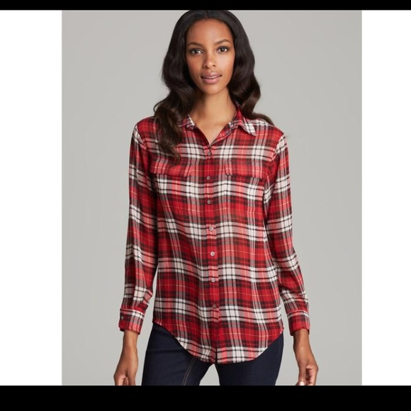 bfe1c365109 Vince Camuto Tops   Nordstrom Red White Black Plaid Blouse Shirt Top ...